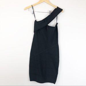 Bebe Black One Shoulder Body Hugging Dress